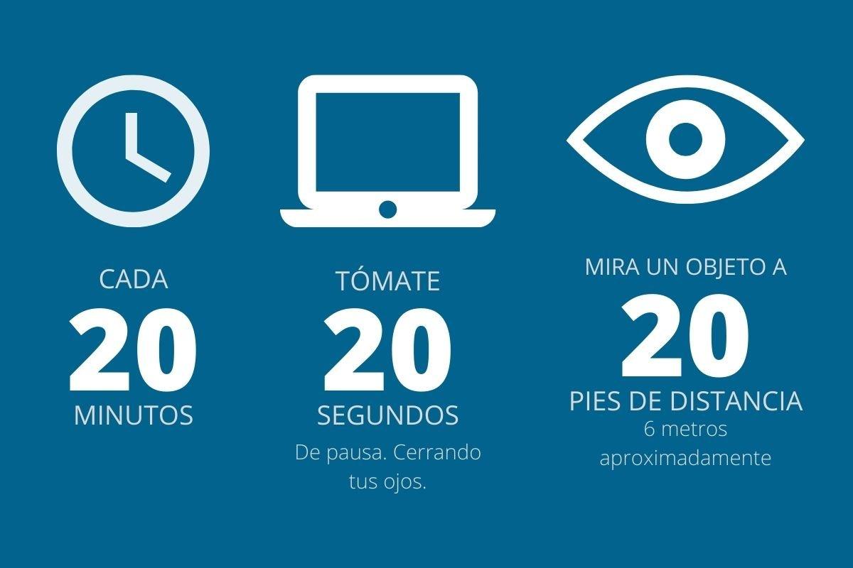 Qué es la regla 20 20 20 para cuidar tu vision